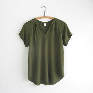 Old Navy olive green pintucked popover blouse